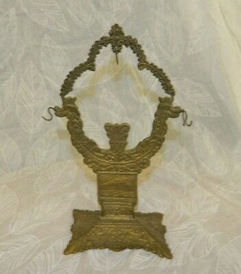 vintage solid Brass Two Dragon Foo Dogs Lion Watch Fob & Jewelry Display Holder