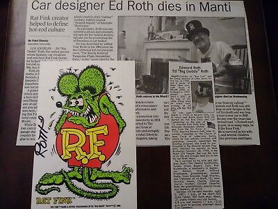 Big daddy ed roth signed sticker decal Rat funk hot rod lowbrow obituary