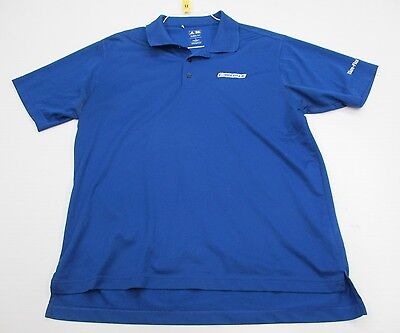 ADIDAS #T1912 Men's Size L Athletic CLIMALITE GOLF Short Sleeve Blue Polo Shirt