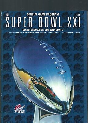 Super Bowl 21 Game Program Broncos V Giants 1987.