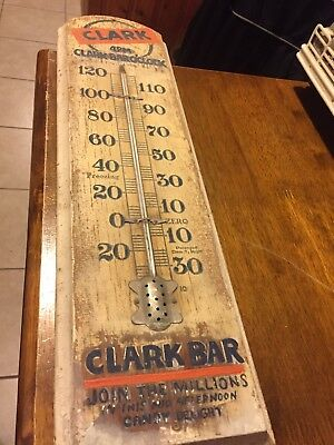 """Rare Vintage c.1920 Clark Candy Bar Gas Oil 19"""" Wood Thermometer Sign"""