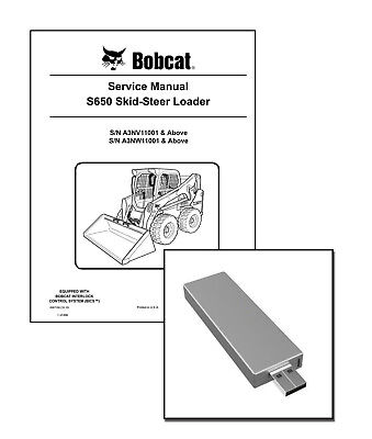 Bobcat S650 Skid Steer Workshop Service Manual on New USB Stick. Free Shipping
