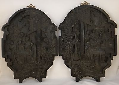 Pair of Vintage Chinese Carved Wood Wall Plaques, Republic- 1920's/30's, 13x10""