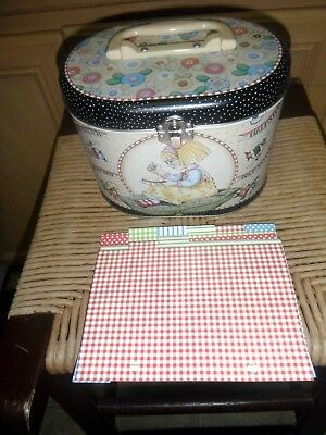 """Mary Engelbreit Decorated  """"Back Stitch, French Knot"""" Tin Sewing Box w/ Cards"""