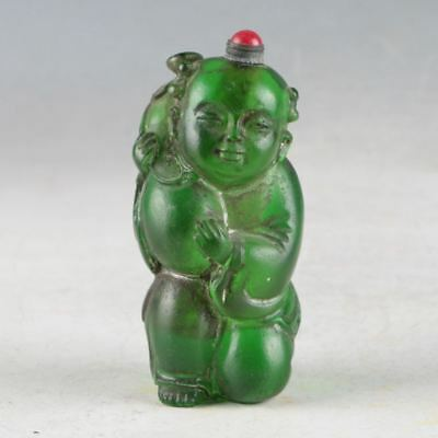 Old Peking(18th) Green Colored Glaze HandWork Child Snuff Bottle DY605