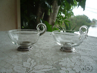 Hand Blown Swan Glass Sauce Boats With Sterling Silver Bases X Two!!