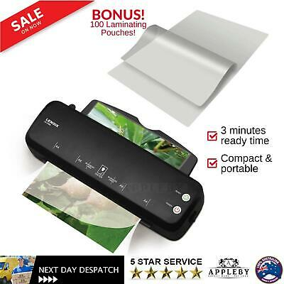 A4 Document Laminator Home Office Thermal Hot Laminating Machine Free Pouches