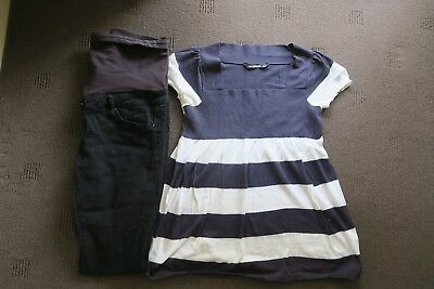 Women's maternity, size 14 black Jeanswest jeans; blue and white Girl Xpress top