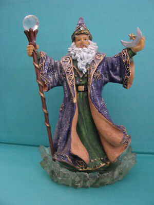LOVELY  WIZARD  -  STANDING  on  CRYSTAL BASE   -   GREEN / PURPLE / GOLD  ROBE