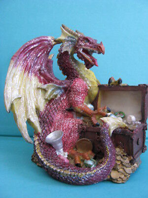 BEAUTIFUL  RED   DRAGON    with  TREASURE  CHEST -   GLITTER  FINISH