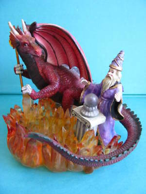 BIG  RED  DRAGON  with  WIZARD  -  on  a  CRYSTAL  FIRE  BASE