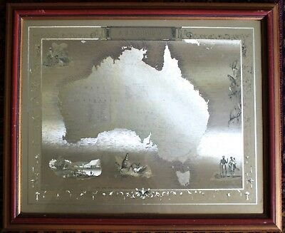 Vintage Framed antique style etched brass map of Australia with historic images