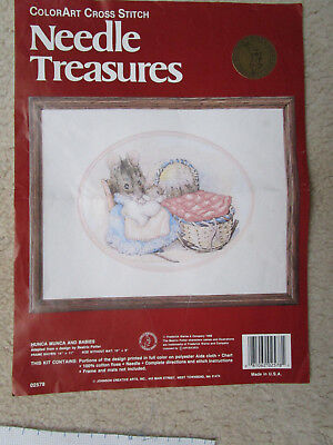 Needle Treasures Cross Stitch Kit Of Beatrix Potters Hunca Munca& Babies 25X20Cm