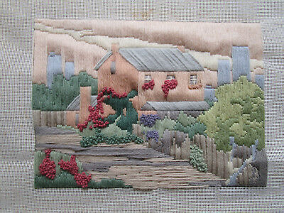 Completed Long Stitch Of A House By A River. 31Cms X 22Cms