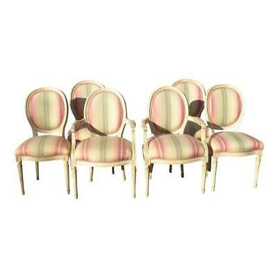 Set of Six French Country Provincial Striped Off-White Pink Dining CHAIRS