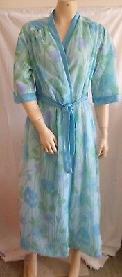 Vintage NEGLIGEE Lingerie Robe Gown Brunch Coat Blue POPPIES Nylon Lined AS NEW