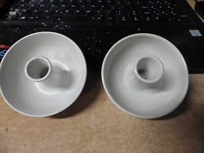 PAIR OF VINTAGE ARTIST SIGNED PURE WHITE Pigeon Forge Pottery Candlesticks!! EUC