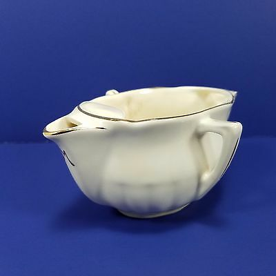 French Faience Gravy Sauce Boat Double Sided Antique Marked M 322