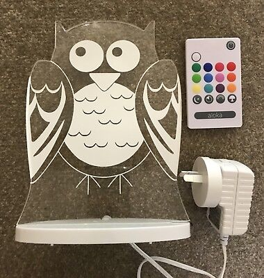 Aloka LED Owl Nightlight With Remote-- Free Postage