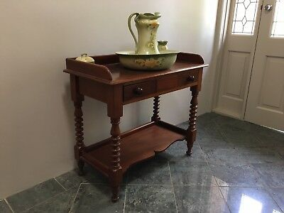 Red cedar hall/wash table with complete with jug and basin