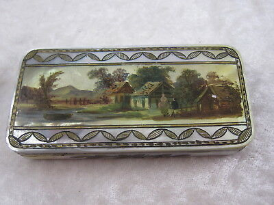 Antique Victorian Scenic Mother of Pearl Patch Box