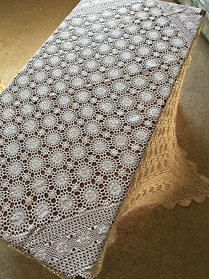 True Vintage Hand Crocheted 127cm Ecru Cotton Square TableCloth Crochet Table