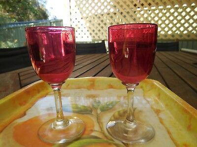Old Cranberry-Coloured Glass, 2 X Small Glasses