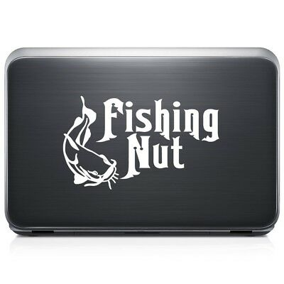 ((10 in / 25 cm) Wide, Matte Black) - Fishing Nut Fish REMOVABLE Vinyl Decal