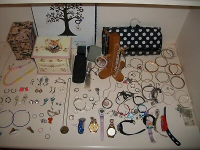 Bulk Lot Costume/Fashion Jewellery some Vintage inc Boxes & Stands Necklaces ect