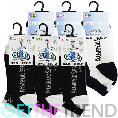 3, 6 Pack Kids Socks Trainer Breathable Sports Pair Sports Comfortable Ankle UK