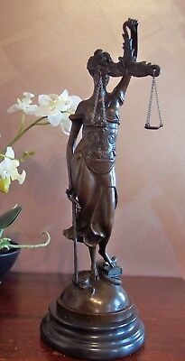 """Statue, Genuine Bronze On A Marble Base, """"blind Justice"""""""