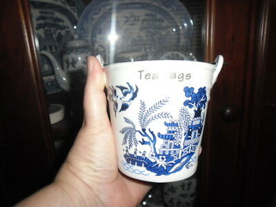 Blue Willow Tea Bag Holder In The Shape Of A Bucket