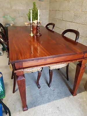 Solid mahogany dining table + 4 balloon back dining chairs