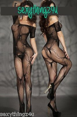BLACK SPIDER FISHNET BODY STOCKING - Choose Size 8-10-12