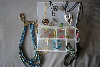 Plastic Tub With Bulk Lot Costume Jewellery Earrings Bracelets Necklaces Beads