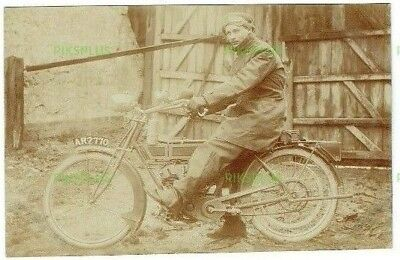 Early Motorcycle Postcard Rider In Full Weather Gear Real Photo Vintage C.1910
