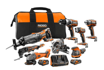 Ridgid 18-Volt Gen5X- 4.0Ah-Lithium-Ion Cordless 8pc-hand-Tool set-Bag Combo Kit