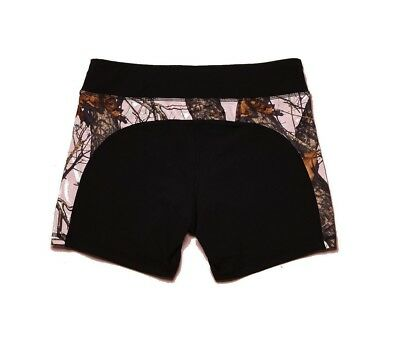 Wilderness Dreams Active Wear Shorts Black with Mossy Oak Pink Size Small