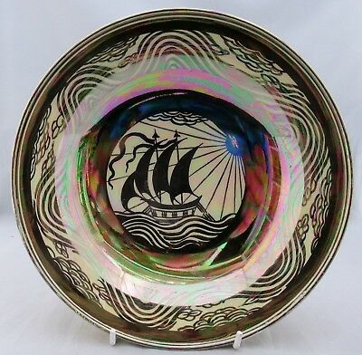 Art Deco porcelain lustre bowl with galleon c1920 Susie Cooper Crown Works?