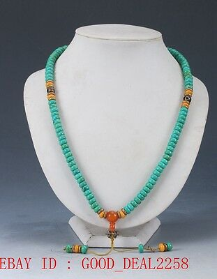 100% Natural turquoise & Beeswax Handwork Decoration Necklaces XL034