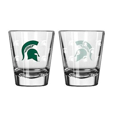 Michigan State Spartans Shot Glass - 2 Pack Satin Etch. Indian Marketplace