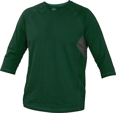 (2X, Dark Green) - Rawlings Sporting Goods Adult 3/4 Sleeve Performance Shirt