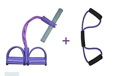 (Unremovable, Pure Purple) - Do4U Home Gym Tube Exercise Fitness Expander Gym