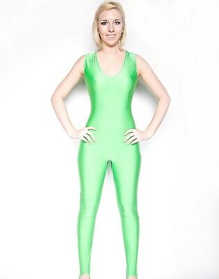 (Medium) - NawtyFox Neon Green Sleeveless Dance Unitard. Nawty Fox