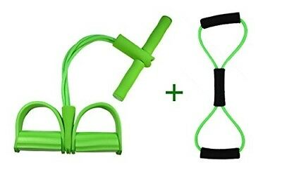 (Unremovable, Pure Green) - Do4U Home Gym Tube Exercise Fitness Expander Gym