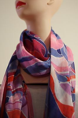 NoniB-LIZ JORDAN print long scarf blue-pink multi in colour new with tag