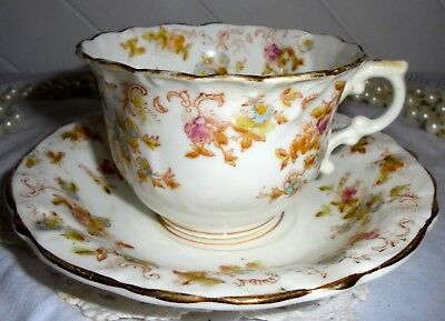 C22 Pretty Antique 19C Hand Painted & Gilded Staffordshire Cup & Saucer