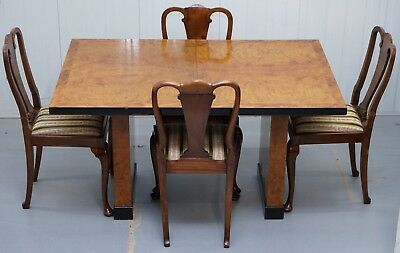 Period Art Decor Walnut Extending Dining Table And Chairs Stamped Furdecro W1