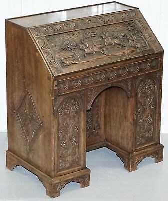 Rare Charles Ii 1674 Carved With Hunting Scenes Writing Bureau Desk Lots Drawers