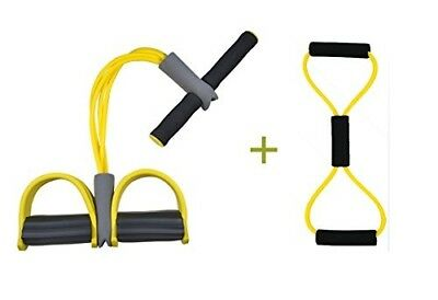 (Unremovable, Yellow+Black) - Do4U Home Gym Tube Exercise Fitness Expander Gym